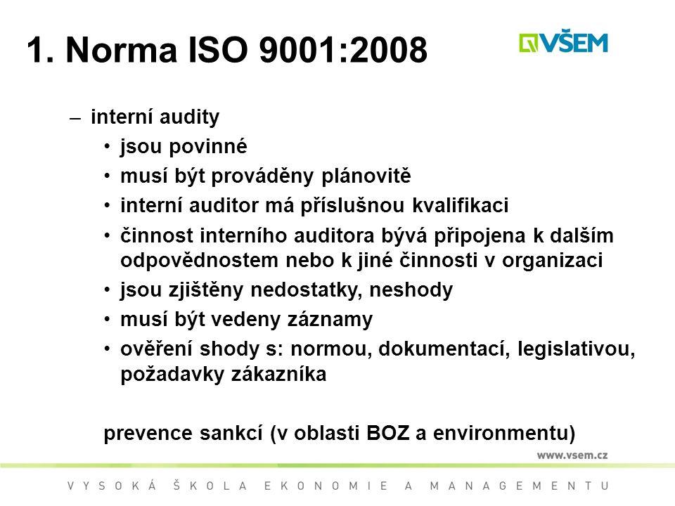 1. Norma ISO 9001:2008 –interní audity jsou povinné musí být prováděny plánovitě interní auditor má příslušnou kvalifikaci činnost interního auditora