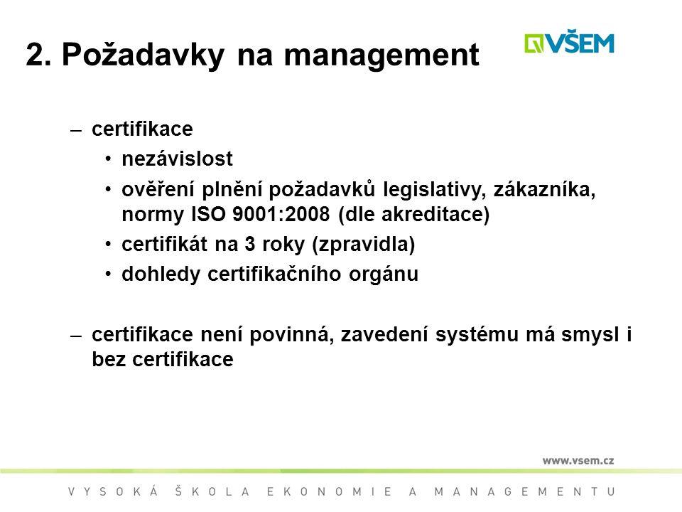2. Požadavky na management –certifikace nezávislost ověření plnění požadavků legislativy, zákazníka, normy ISO 9001:2008 (dle akreditace) certifikát n