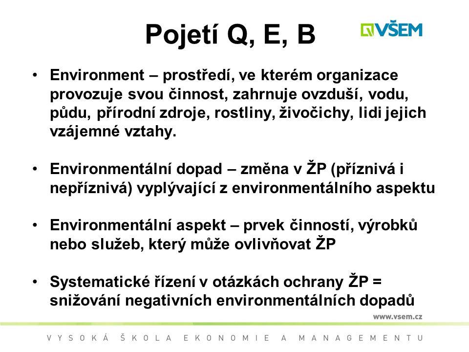 Pojetí Q, E, B Environment – prostředí, ve kterém organizace provozuje svou činnost, zahrnuje ovzduší, vodu, půdu, přírodní zdroje, rostliny, živočichy, lidi jejich vzájemné vztahy.