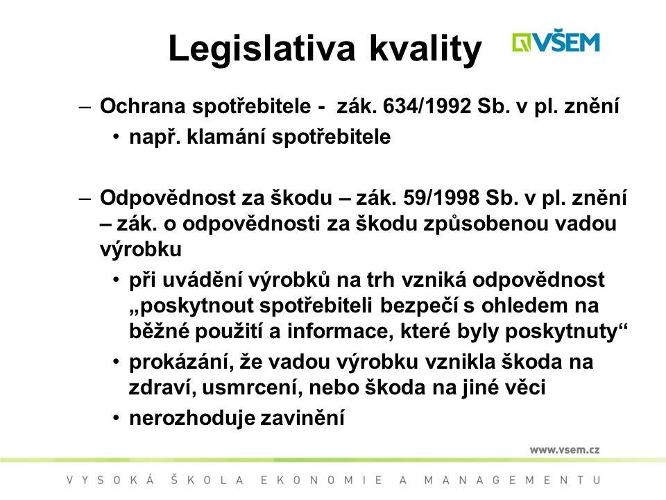 Legislativa kvality –Ochrana spotřebitele - zák.634/1992 Sb.