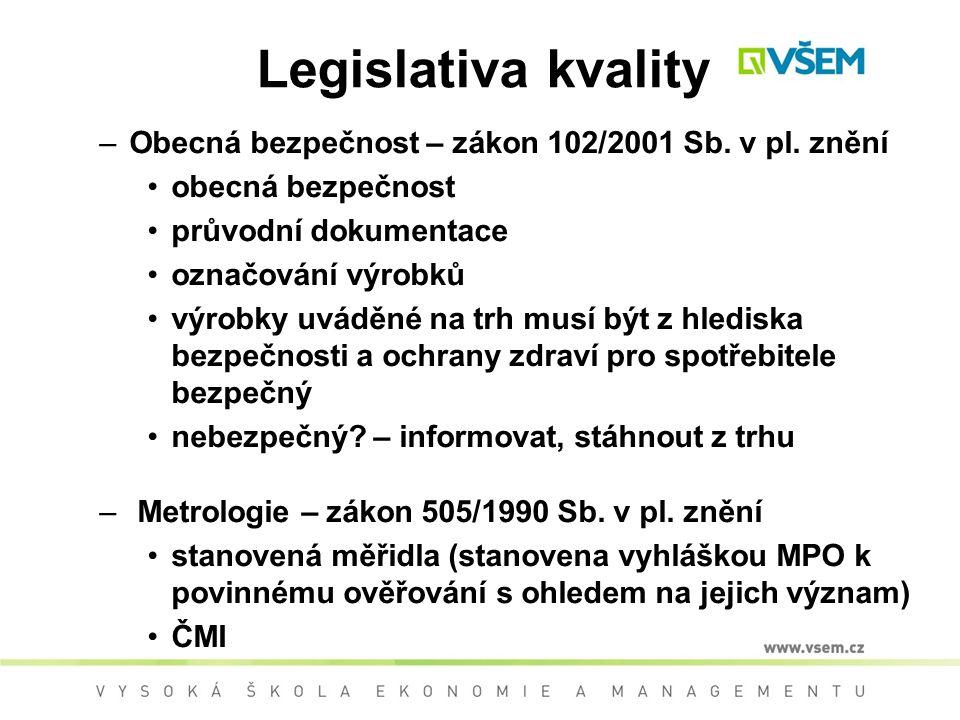 Legislativa kvality –Obecná bezpečnost – zákon 102/2001 Sb.