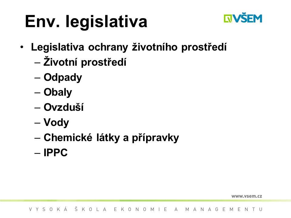 Env. legislativa Legislativa ochrany životního prostředí –Životní prostředí –Odpady –Obaly –Ovzduší –Vody –Chemické látky a přípravky –IPPC