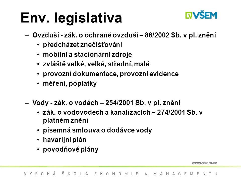 Env.legislativa –Ovzduší - zák. o ochraně ovzduší – 86/2002 Sb.