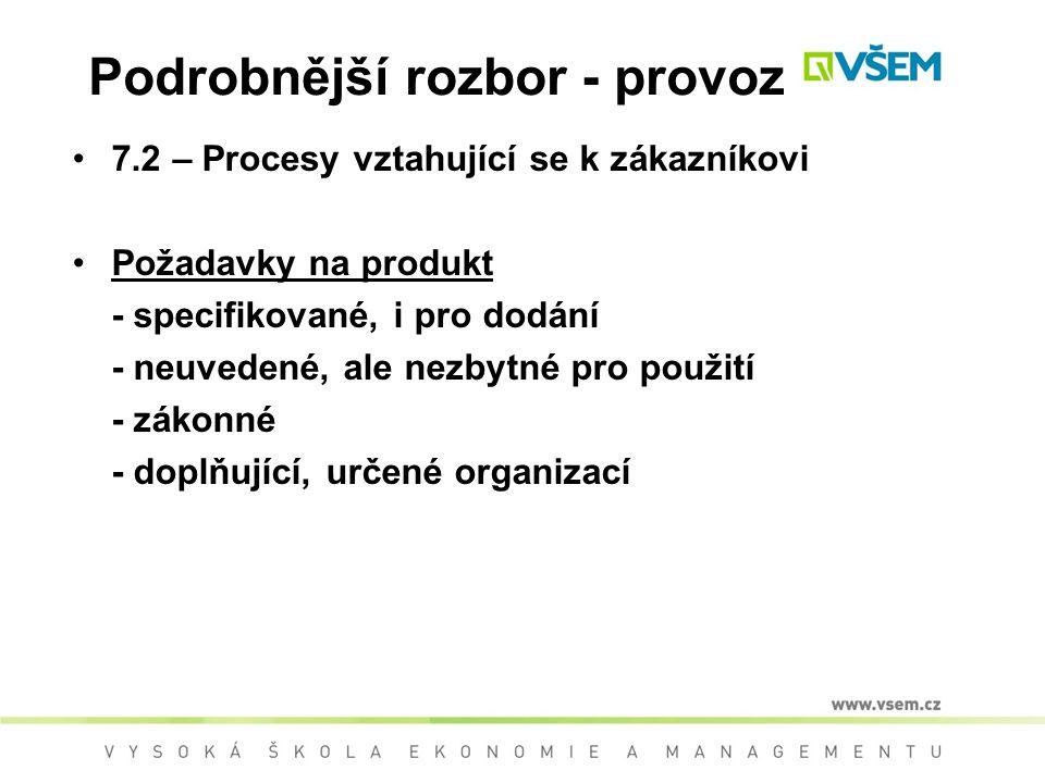 Podrobnější rozbor - provoz 7.2 – Procesy vztahující se k zákazníkovi Požadavky na produkt - specifikované, i pro dodání - neuvedené, ale nezbytné pro použití - zákonné - doplňující, určené organizací