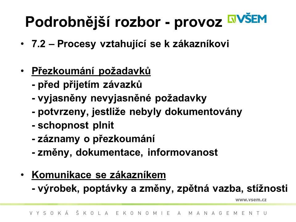 Podrobnější rozbor - provoz 7.2 – Procesy vztahující se k zákazníkovi Přezkoumání požadavků - před přijetím závazků - vyjasněny nevyjasněné požadavky - potvrzeny, jestliže nebyly dokumentovány - schopnost plnit - záznamy o přezkoumání - změny, dokumentace, informovanost Komunikace se zákazníkem - výrobek, poptávky a změny, zpětná vazba, stížnosti