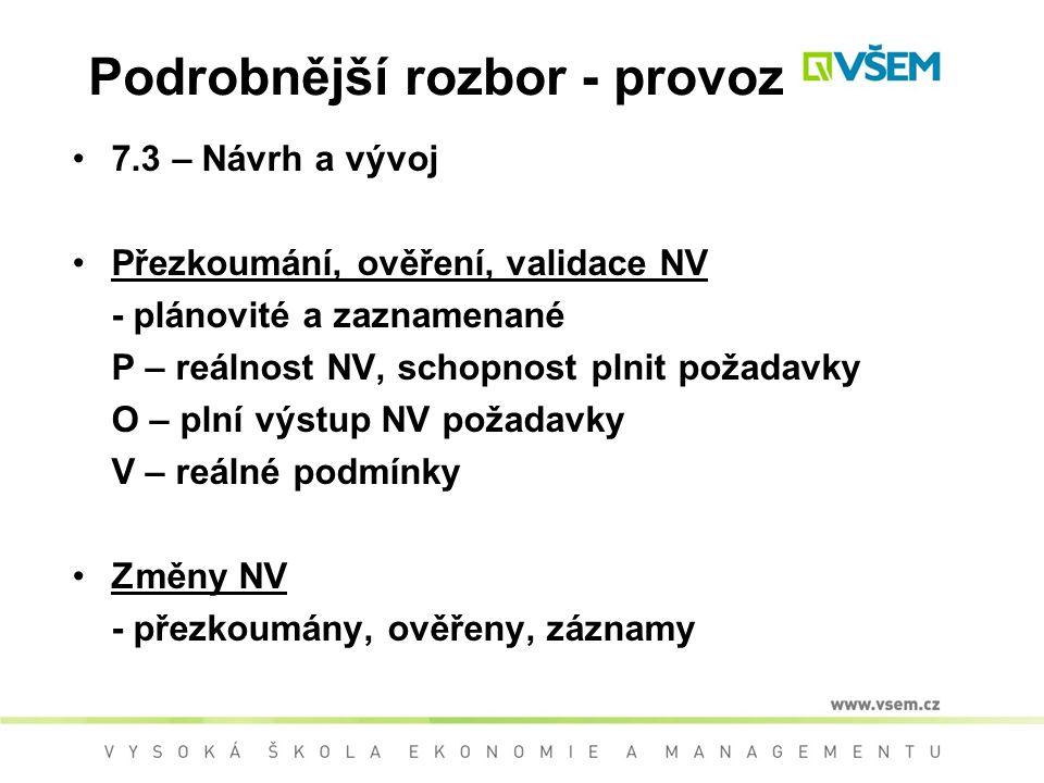 Podrobnější rozbor - provoz 7.3 – Návrh a vývoj Přezkoumání, ověření, validace NV - plánovité a zaznamenané P – reálnost NV, schopnost plnit požadavky O – plní výstup NV požadavky V – reálné podmínky Změny NV - přezkoumány, ověřeny, záznamy
