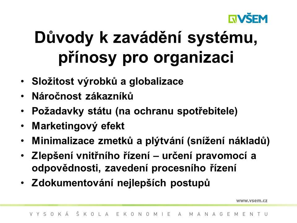 Důvody k zavádění systému, přínosy pro organizaci Složitost výrobků a globalizace Náročnost zákazníků Požadavky státu (na ochranu spotřebitele) Marketingový efekt Minimalizace zmetků a plýtvání (snížení nákladů) Zlepšení vnitřního řízení – určení pravomocí a odpovědnosti, zavedení procesního řízení Zdokumentování nejlepších postupů