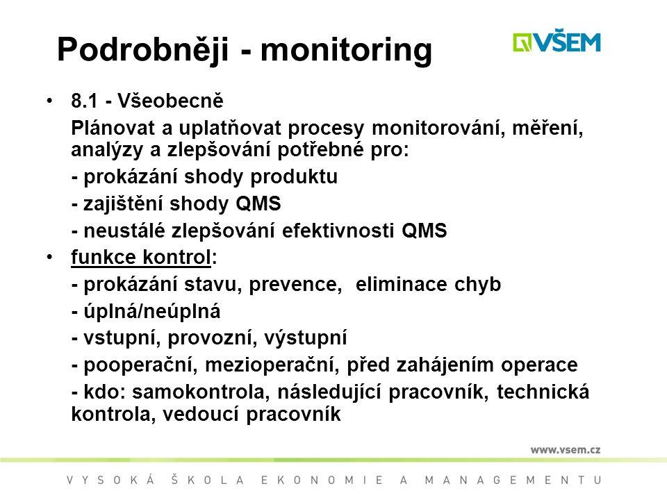 Podrobněji - monitoring 8.1 - Všeobecně Plánovat a uplatňovat procesy monitorování, měření, analýzy a zlepšování potřebné pro: - prokázání shody produktu - zajištění shody QMS - neustálé zlepšování efektivnosti QMS funkce kontrol: - prokázání stavu, prevence, eliminace chyb - úplná/neúplná - vstupní, provozní, výstupní - pooperační, mezioperační, před zahájením operace - kdo: samokontrola, následující pracovník, technická kontrola, vedoucí pracovník