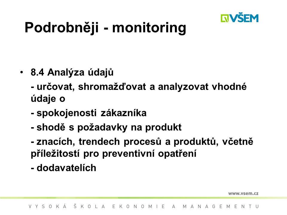 Podrobněji - monitoring 8.4 Analýza údajů - určovat, shromažďovat a analyzovat vhodné údaje o - spokojenosti zákazníka - shodě s požadavky na produkt - znacích, trendech procesů a produktů, včetně příležitostí pro preventivní opatření - dodavatelích