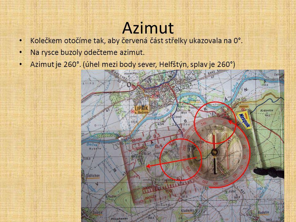Azimut Kolečkem otočíme tak, aby červená část střelky ukazovala na 0°. Na rysce buzoly odečteme azimut. Azimut je 260°. (úhel mezi body sever, Helfštý