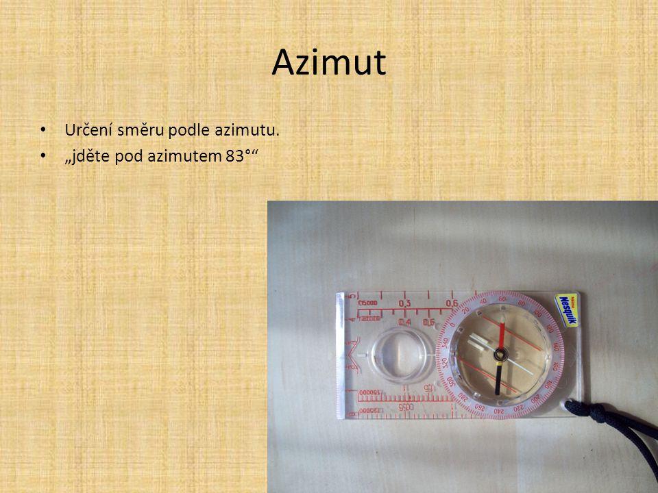 """Azimut Určení směru podle azimutu. """"jděte pod azimutem 83°"""""""