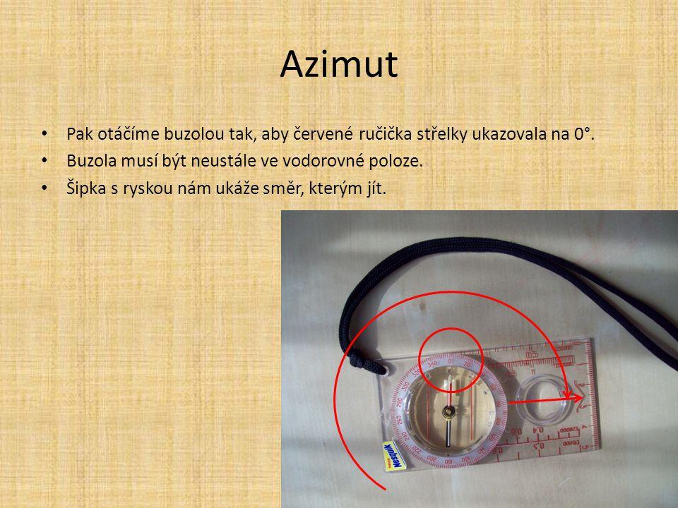 Azimut Pak otáčíme buzolou tak, aby červené ručička střelky ukazovala na 0°. Buzola musí být neustále ve vodorovné poloze. Šipka s ryskou nám ukáže sm