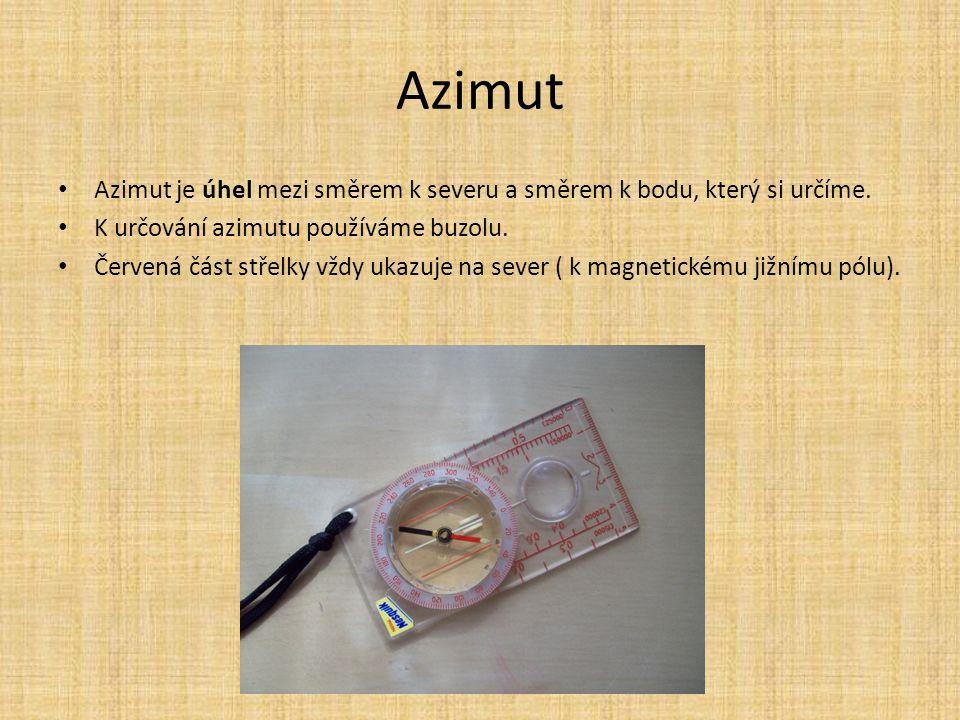Azimut Azimut je úhel mezi směrem k severu a směrem k bodu, který si určíme. K určování azimutu používáme buzolu. Červená část střelky vždy ukazuje na