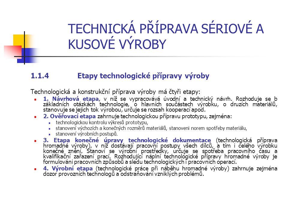 TECHNICKÁ PŘÍPRAVA SÉRIOVÉ A KUSOVÉ VÝROBY 1.1.3Technologičnost konstrukce výrobku Technologičnost konstrukce znamená, že výrobek bude mít vlastnosti, které umožní jeho hospodárnou výrobu s použitím progresivní techniky, technologie a organizace práce, a tím sníží i vlastní výrobní náklady při plném zachování stanovených technicko-ekonomických ukazatelů a požadavku na výrobek.