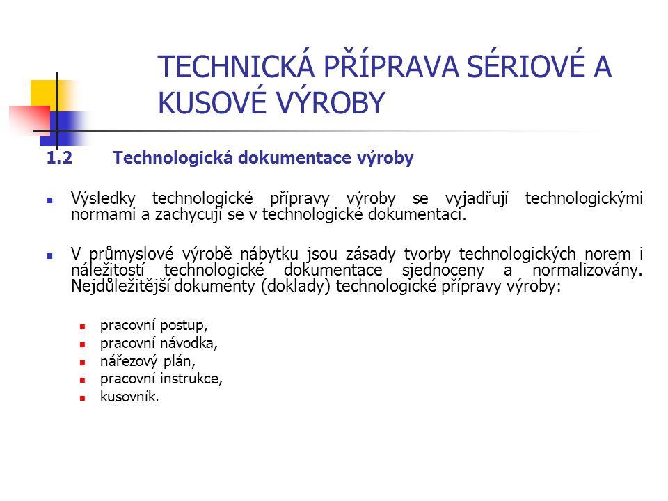 TECHNICKÁ PŘÍPRAVA SÉRIOVÉ A KUSOVÉ VÝROBY 1.1.4 Etapy technologické přípravy výroby Technologická a konstrukční příprava výroby má čtyři etapy: 1. Ná
