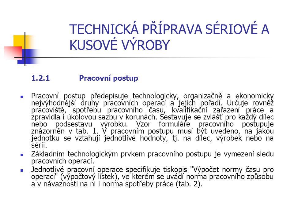 TECHNICKÁ PŘÍPRAVA SÉRIOVÉ A KUSOVÉ VÝROBY 1.2 Technologická dokumentace výroby Výsledky technologické přípravy výroby se vyjadřují technologickými no