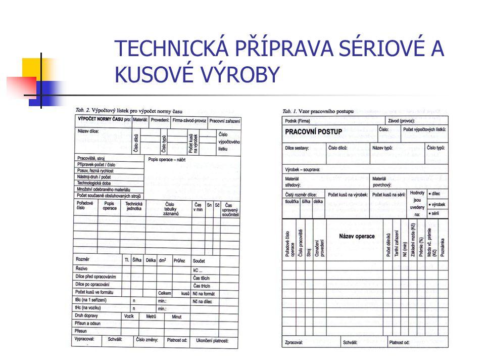 TECHNICKÁ PŘÍPRAVA SÉRIOVÉ A KUSOVÉ VÝROBY 1.2.1 Pracovní postup Pracovní postup předepisuje technologicky, organizačně a ekonomicky nejvýhodnější dru