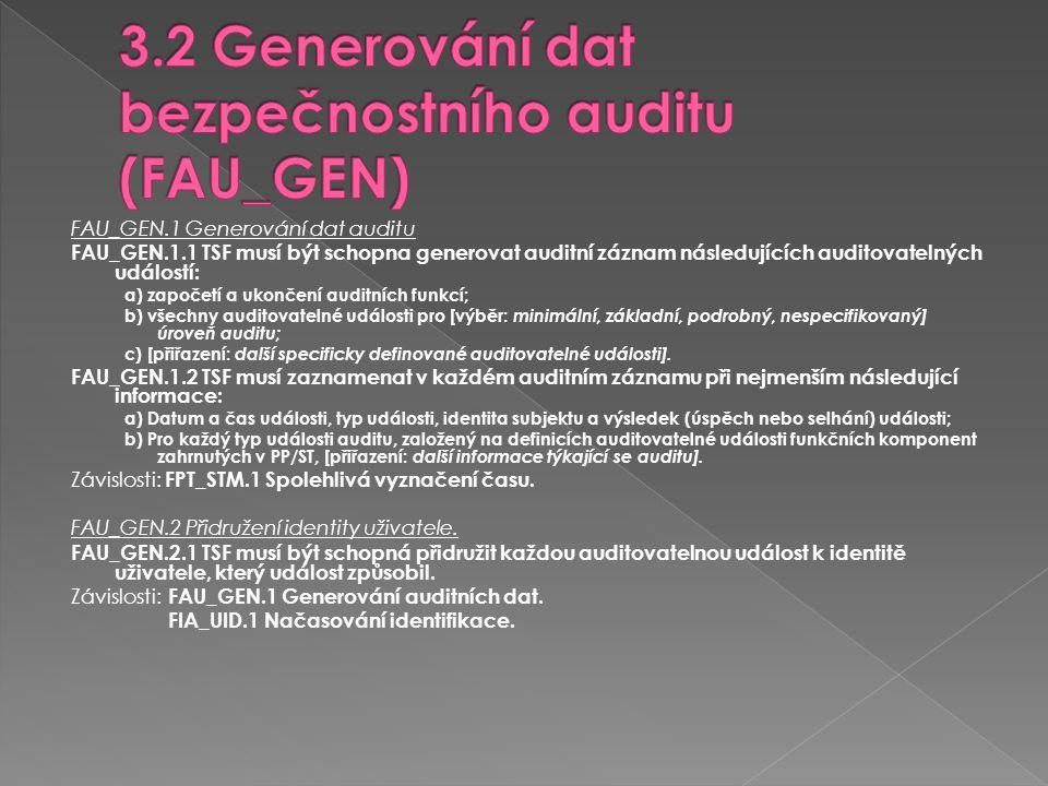 FAU_GEN.1 Generování dat auditu FAU_GEN.1.1 TSF musí být schopna generovat auditní záznam následujících auditovatelných událostí: a) započetí a ukonče