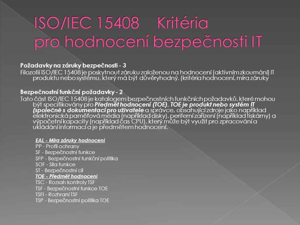 Požadavky na záruky bezpečnosti - 3 Filozofií ISO/IEC 15408 je poskytnout záruku založenou na hodnocení (aktivním zkoumání) IT produktu nebo systému,
