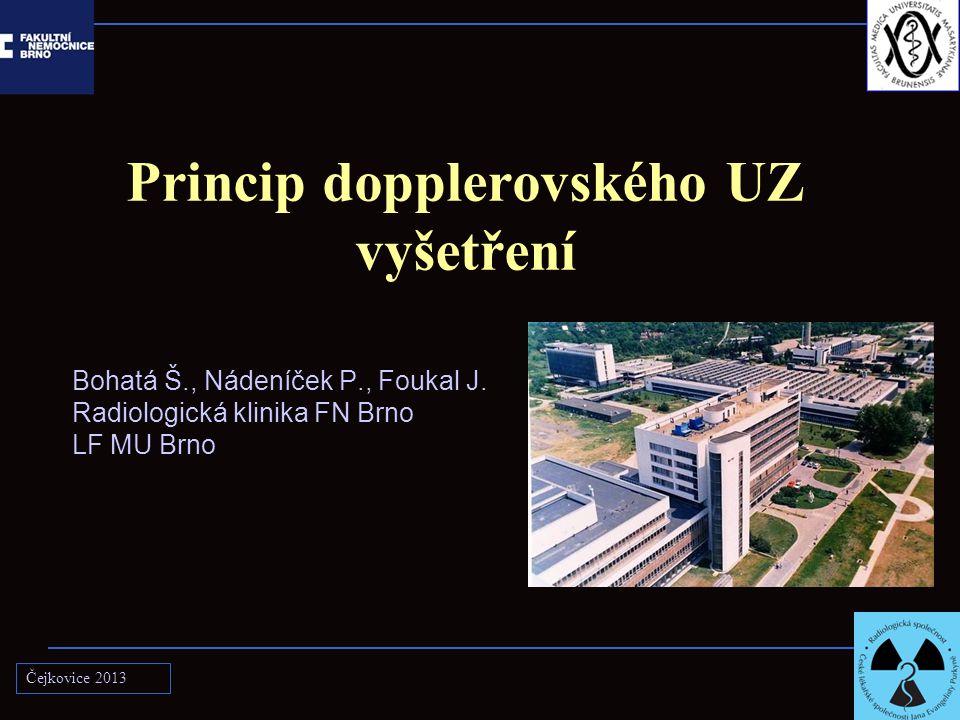Princip dopplerovského UZ vyšetření Bohatá Š., Nádeníček P., Foukal J. Radiologická klinika FN Brno LF MU Brno Čejkovice 2013