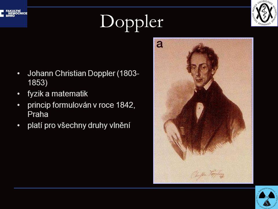 Doppler Johann Christian Doppler (1803- 1853) fyzik a matematik princip formulován v roce 1842, Praha platí pro všechny druhy vlnění