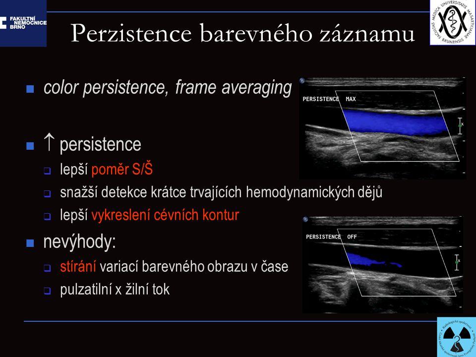 Perzistence barevného záznamu color persistence, frame averaging  persistence  lepší poměr S/Š  snažší detekce krátce trvajících hemodynamických dějů  lepší vykreslení cévních kontur nevýhody:  stírání variací barevného obrazu v čase  pulzatilní x žilní tok