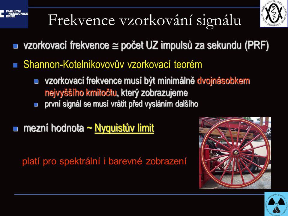 Frekvence vzorkování signálu vzorkovací frekvence  počet UZ impulsů za sekundu (PRF) vzorkovací frekvence  počet UZ impulsů za sekundu (PRF) Shannon-Kotelnikovovův vzorkovací teorém vzorkovací frekvence musí být minimálně dvojnásobkem nejvyššího kmitočtu, který zobrazujeme vzorkovací frekvence musí být minimálně dvojnásobkem nejvyššího kmitočtu, který zobrazujeme první signál se musí vrátit před vysláním dalšího první signál se musí vrátit před vysláním dalšího mezní hodnota ~ Nyquistův limit mezní hodnota ~ Nyquistův limit platí pro spektrální i barevné zobrazení