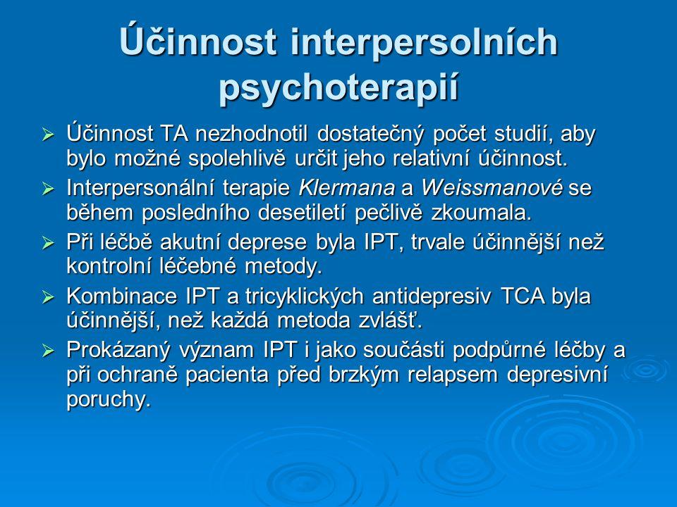 Účinnost interpersolních psychoterapií  Účinnost TA nezhodnotil dostatečný počet studií, aby bylo možné spolehlivě určit jeho relativní účinnost.  I