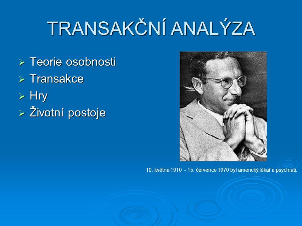 TRANSAKČNÍ ANALÝZA  Teorie osobnosti  Transakce  Hry  Životní postoje 10. května 1910 - 15. července 1970 byl americký lékař a psychiatr.