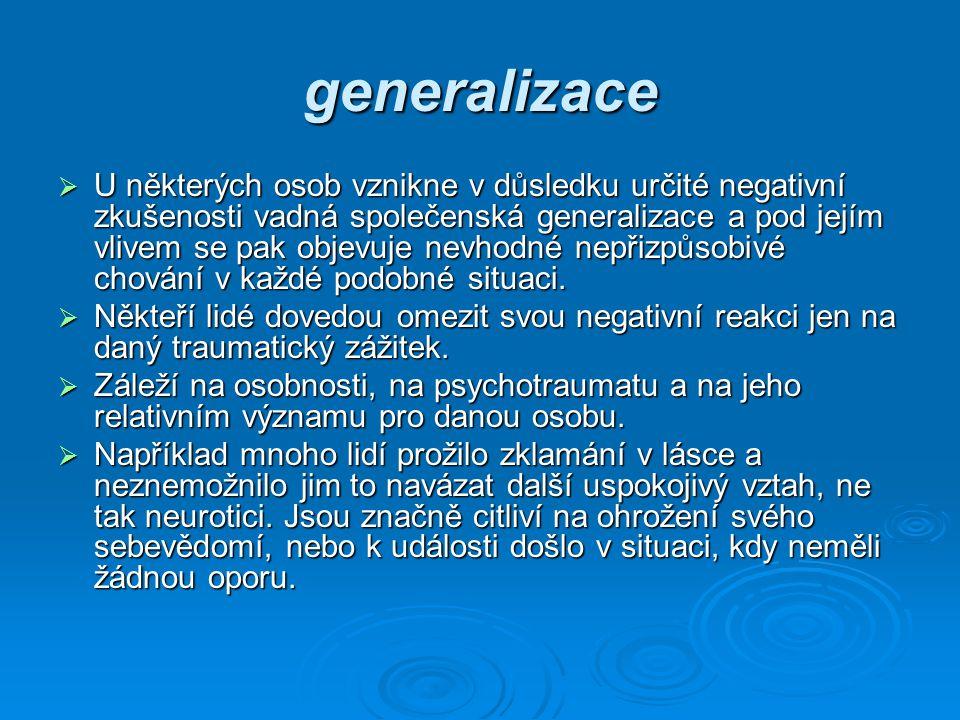 generalizace  U některých osob vznikne v důsledku určité negativní zkušenosti vadná společenská generalizace a pod jejím vlivem se pak objevuje nevho