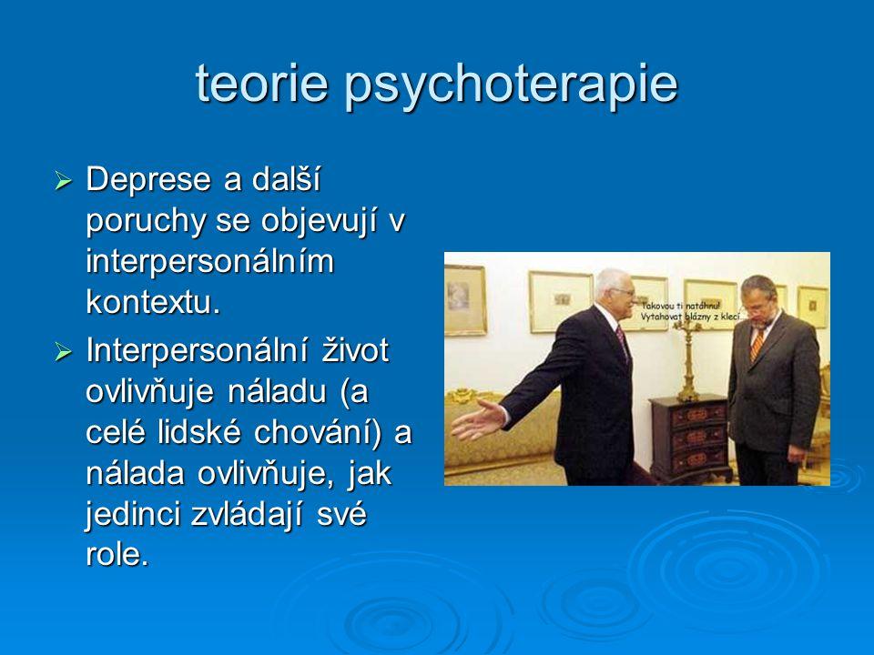 teorie psychoterapie  Deprese a další poruchy se objevují v interpersonálním kontextu.  Interpersonální život ovlivňuje náladu (a celé lidské chován