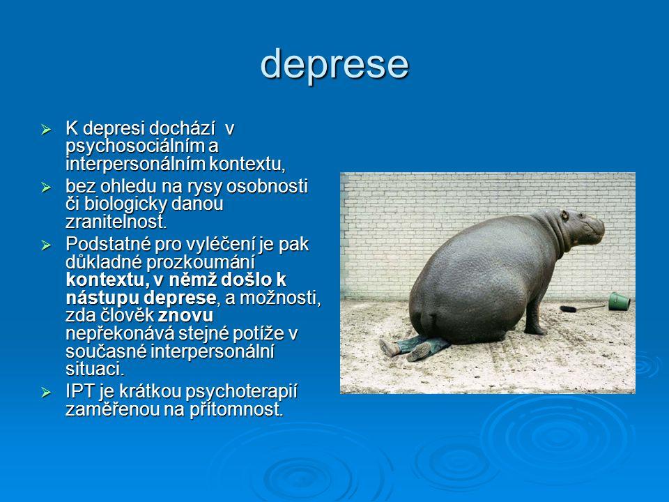 deprese  K depresi dochází v psychosociálním a interpersonálním kontextu,  bez ohledu na rysy osobnosti či biologicky danou zranitelnost.  Podstatn