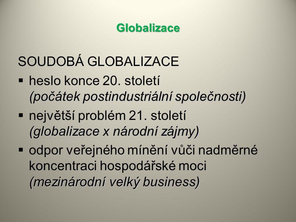 Globalizace SOUDOBÁ GLOBALIZACE (počátek postindustriální společnosti)  heslo konce 20.