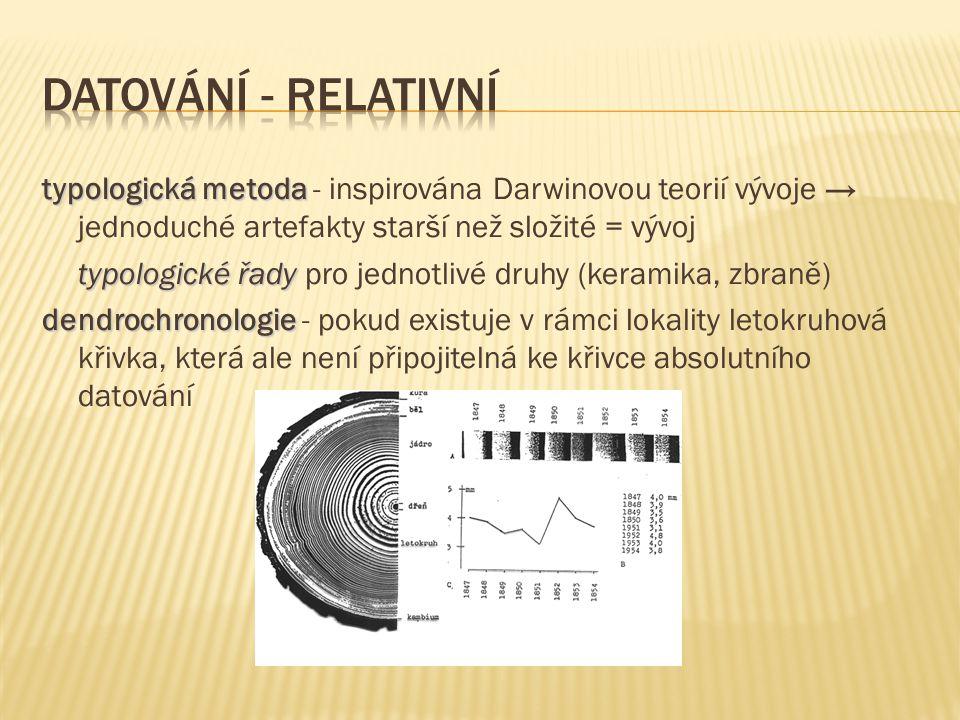 typologická metoda typologická metoda - inspirována Darwinovou teorií vývoje → jednoduché artefakty starší než složité = vývoj typologické řady typolo