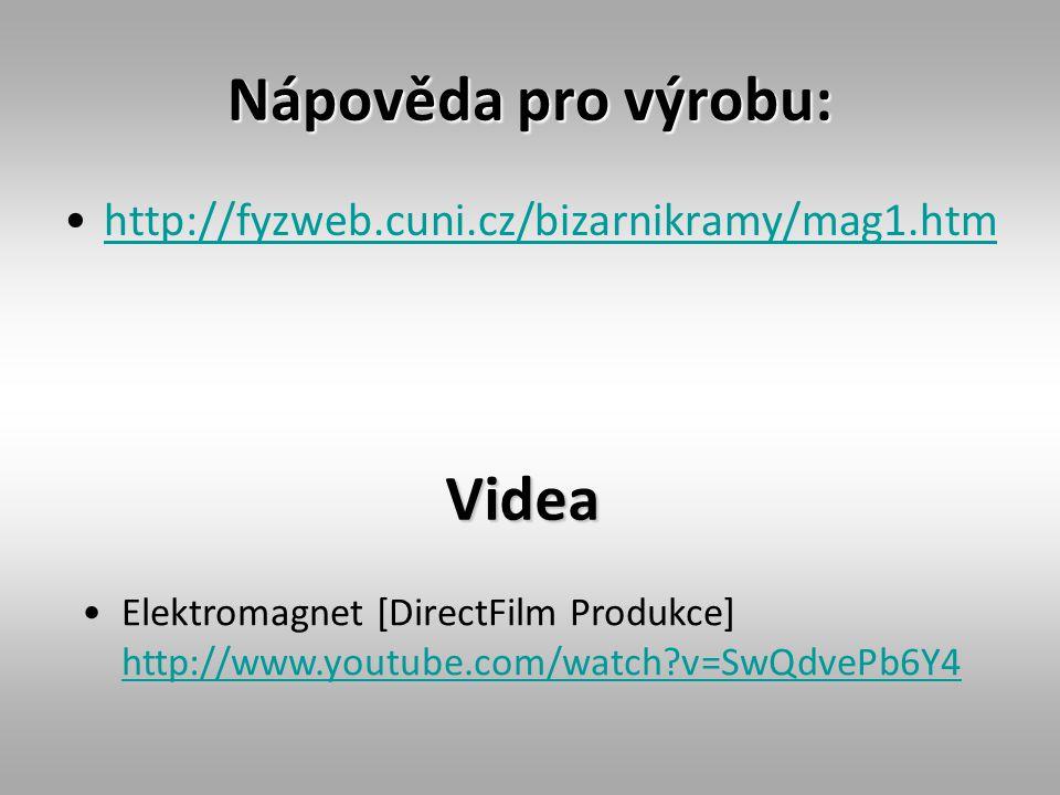 Nápověda pro výrobu: http://fyzweb.cuni.cz/bizarnikramy/mag1.htm Videa Elektromagnet [DirectFilm Produkce] http://www.youtube.com/watch?v=SwQdvePb6Y4 http://www.youtube.com/watch?v=SwQdvePb6Y4