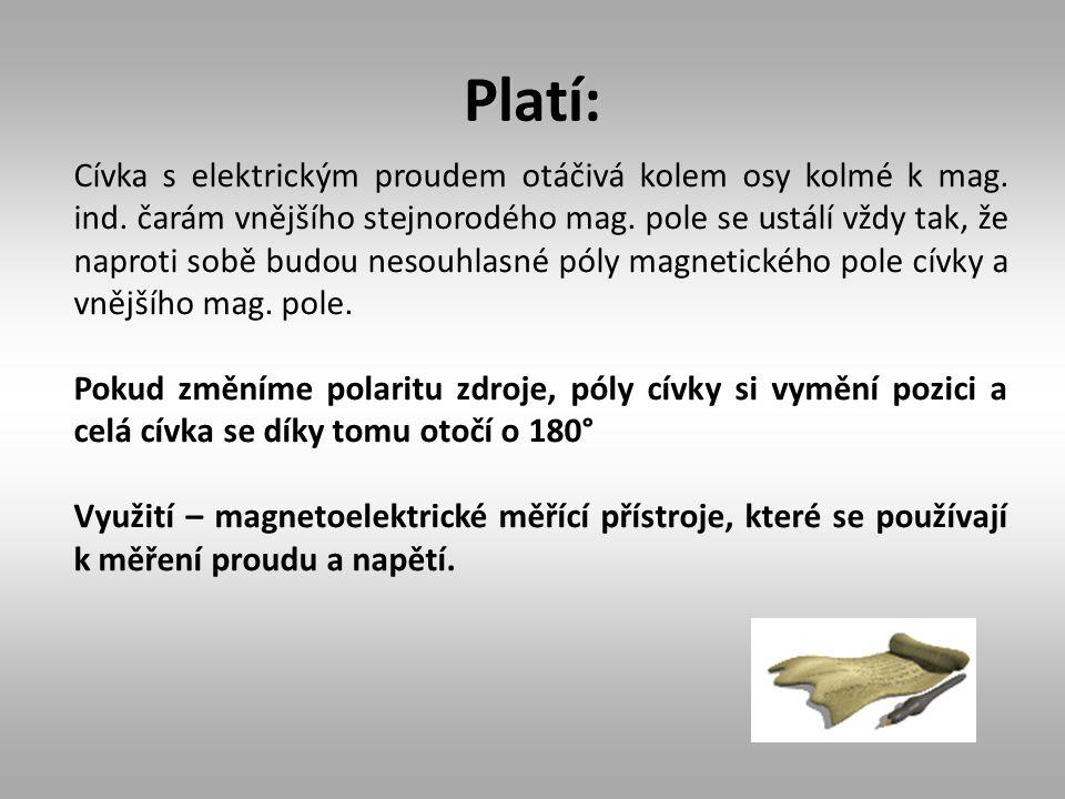 Platí: Cívka s elektrickým proudem otáčivá kolem osy kolmé k mag. ind. čarám vnějšího stejnorodého mag. pole se ustálí vždy tak, že naproti sobě budou