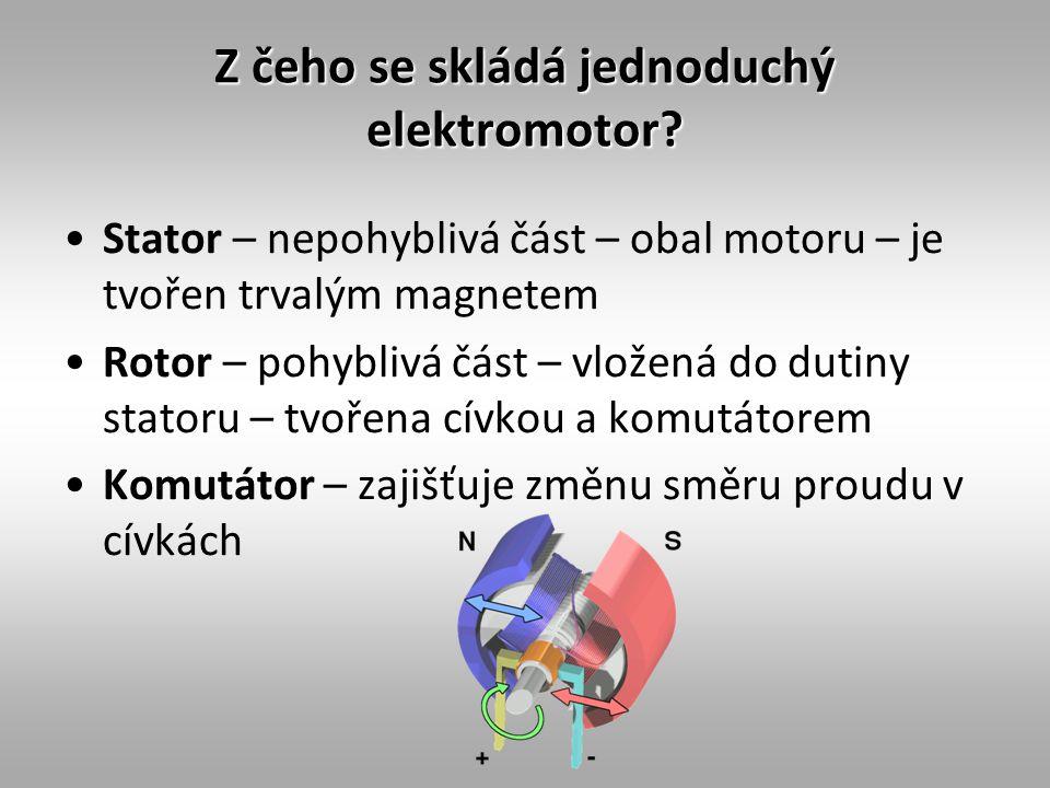 Z čeho se skládá jednoduchý elektromotor? Stator – nepohyblivá část – obal motoru – je tvořen trvalým magnetem Rotor – pohyblivá část – vložená do dut
