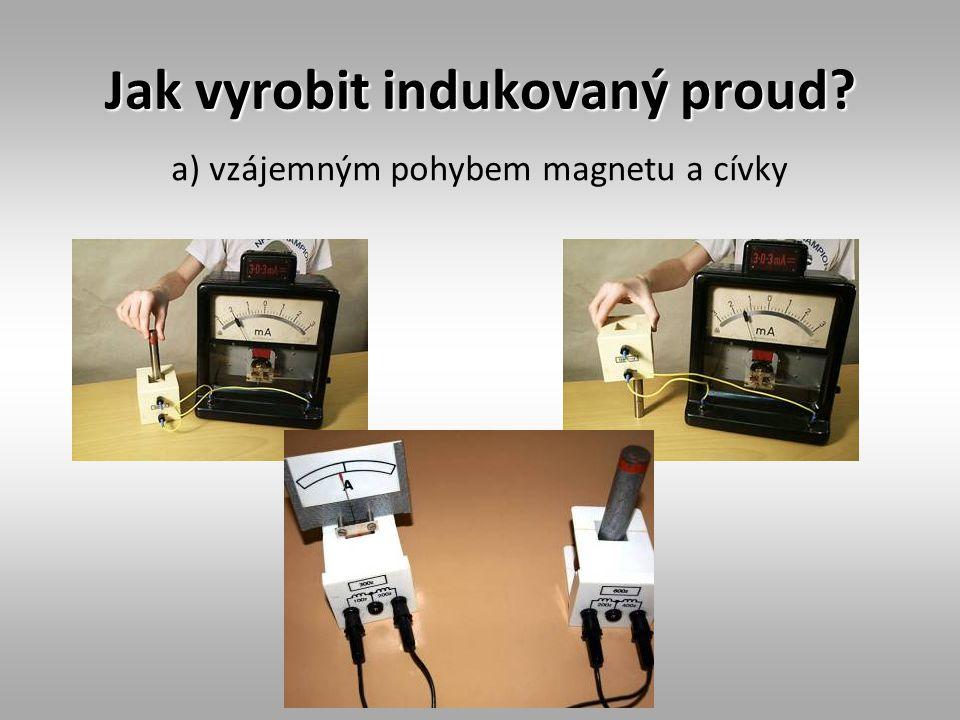 Jak vyrobit indukovaný proud? a) vzájemným pohybem magnetu a cívky