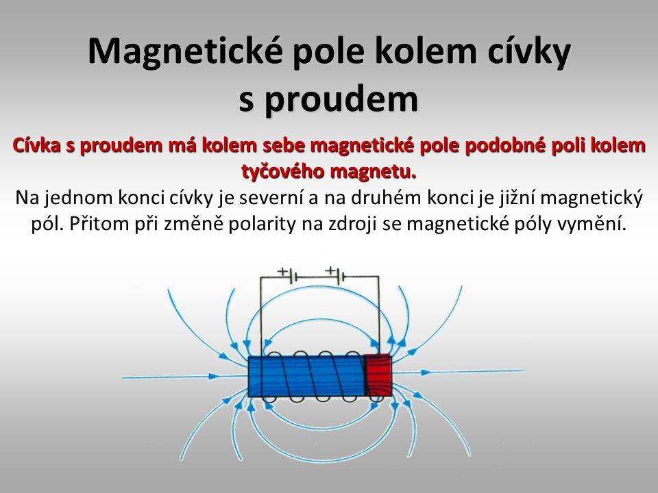 Magnetické pole kolem cívky s proudem Cívka s proudem má kolem sebe magnetické pole podobné poli kolem tyčového magnetu. Na jednom konci cívky je seve