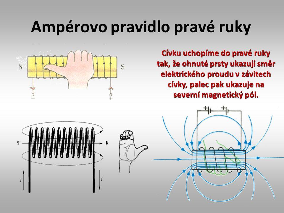 Ampérovo pravidlo pravé ruky Cívku uchopíme do pravé ruky tak, že ohnuté prsty ukazují směr elektrického proudu v závitech cívky, palec pak ukazuje na