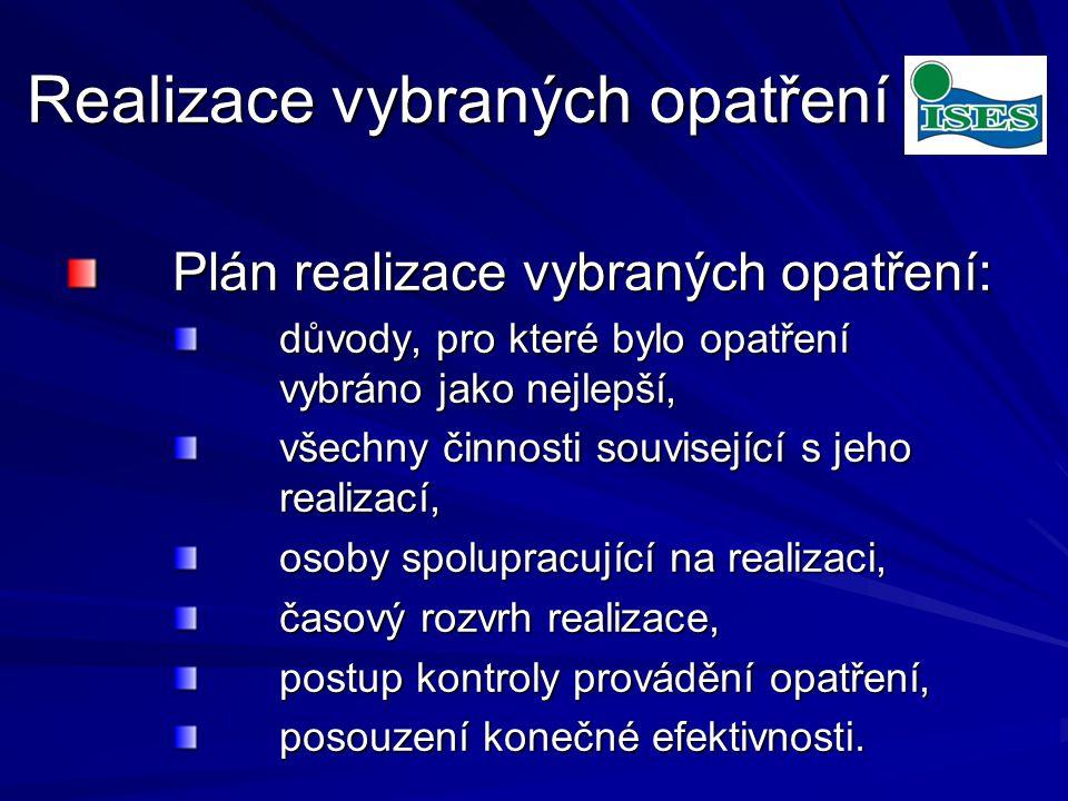 Realizace vybraných opatření Plán realizace vybraných opatření: Plán realizace vybraných opatření: důvody, pro které bylo opatření vybráno jako nejlepší, důvody, pro které bylo opatření vybráno jako nejlepší, všechny činnosti související s jeho realizací, všechny činnosti související s jeho realizací, osoby spolupracující na realizaci, osoby spolupracující na realizaci, časový rozvrh realizace, časový rozvrh realizace, postup kontroly provádění opatření, postup kontroly provádění opatření, posouzení konečné efektivnosti.