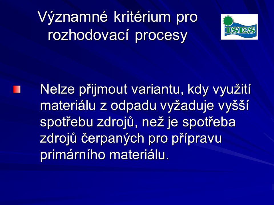 Významné kritérium pro rozhodovací procesy Nelze přijmout variantu, kdy využití materiálu z odpadu vyžaduje vyšší spotřebu zdrojů, než je spotřeba zdrojů čerpaných pro přípravu primárního materiálu.
