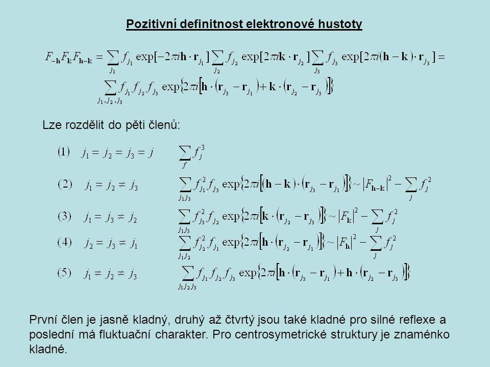 Pozitivní definitnost elektronové hustoty Lze rozdělit do pěti členů: První člen je jasně kladný, druhý až čtvrtý jsou také kladné pro silné reflexe a