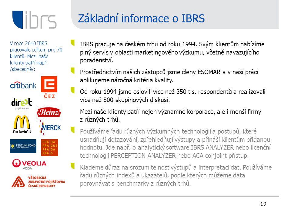 10 Základní informace o IBRS IBRS pracuje na českém trhu od roku 1994. Svým klientům nabízíme plný servis v oblasti marketingového výzkumu, včetně nav