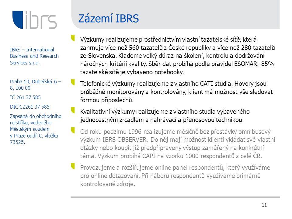 11 Zázemí IBRS Výzkumy realizujeme prostřednictvím vlastní tazatelské sítě, která zahrnuje více než 560 tazatelů z České republiky a více než 280 taza
