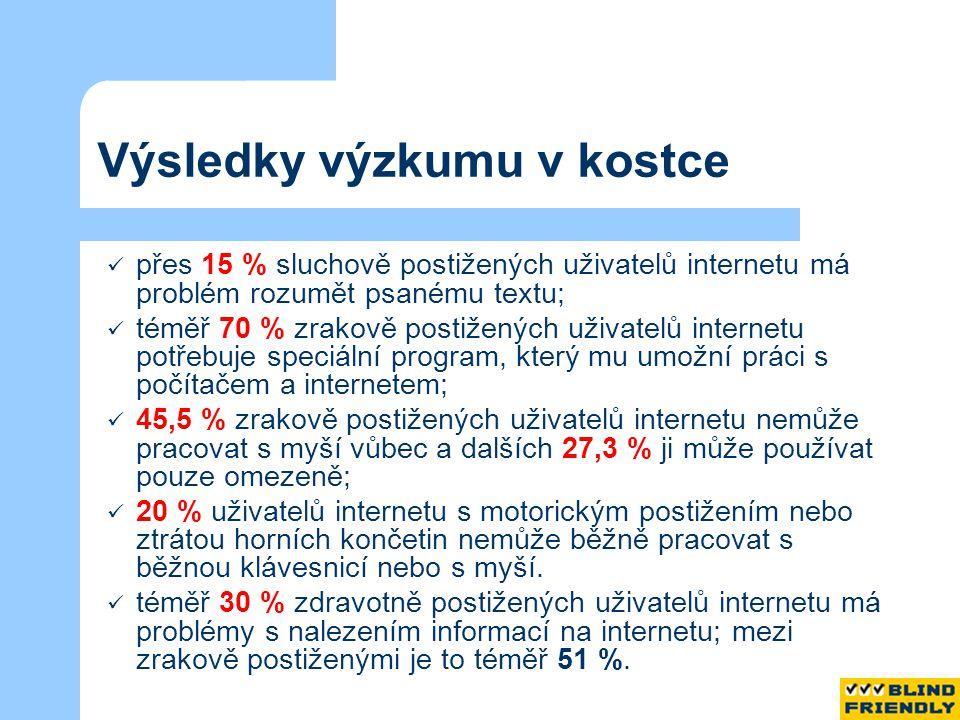 Výsledky výzkumu v kostce přes 15 % sluchově postižených uživatelů internetu má problém rozumět psanému textu; téměř 70 % zrakově postižených uživatelů internetu potřebuje speciální program, který mu umožní práci s počítačem a internetem; 45,5 % zrakově postižených uživatelů internetu nemůže pracovat s myší vůbec a dalších 27,3 % ji může používat pouze omezeně; 20 % uživatelů internetu s motorickým postižením nebo ztrátou horních končetin nemůže běžně pracovat s běžnou klávesnicí nebo s myší.
