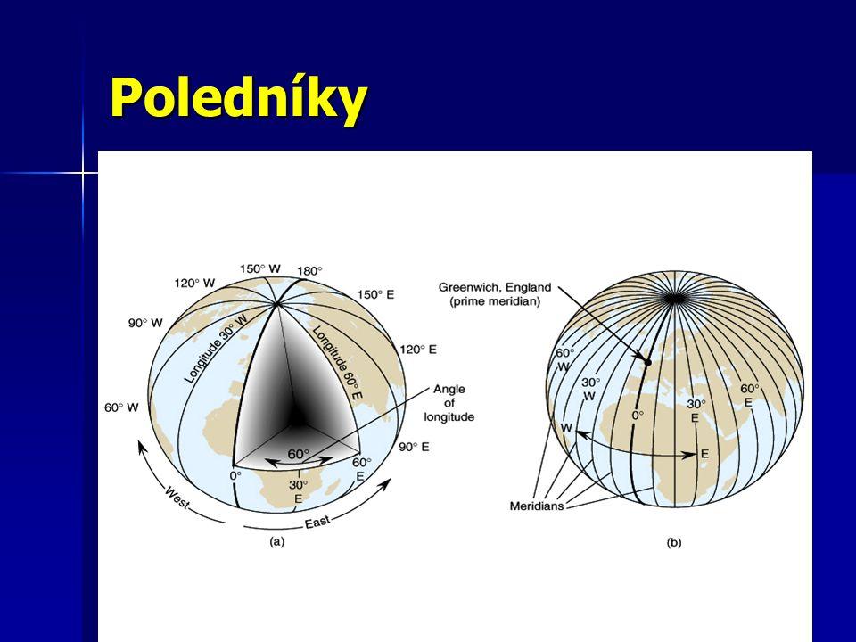 Poledníky polokružnice spojující zemské póly polokružnice spojující zemské póly všechny poledníky jsou stejně dlouhé všechny poledníky jsou stejně dlouhé hlavní poledník je označen 0° hlavní poledník je označen 0° od hlavního poledníku se počítá 180° na východ a 180 ° na západ od hlavního poledníku se počítá 180° na východ a 180 ° na západ hlavní poledník a poledník na 180° rozdělují zeměkouli na východní a západní polokouli hlavní poledník a poledník na 180° rozdělují zeměkouli na východní a západní polokouli