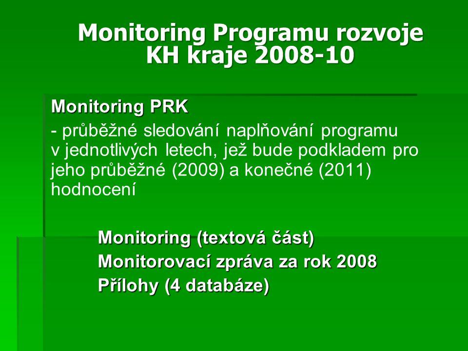 Monitoring PRK - - průběžné sledování naplňování programu v jednotlivých letech, jež bude podkladem pro jeho průběžné (2009) a konečné (2011) hodnocení Monitoring (textová část) Monitorovací zpráva za rok 2008 Přílohy (4 databáze) Monitoring Programu rozvoje KH kraje 2008-10