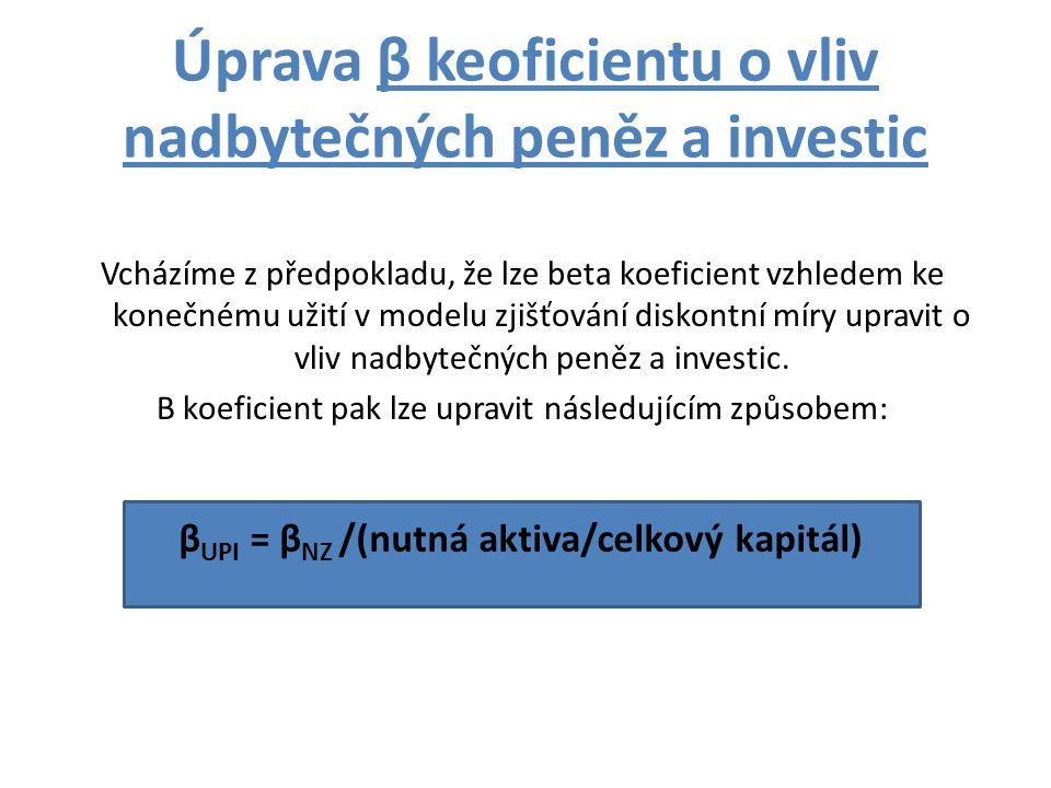 Úprava β keoficientu o vliv nadbytečných peněz a investic Vcházíme z předpokladu, že lze beta koeficient vzhledem ke konečnému užití v modelu zjišťování diskontní míry upravit o vliv nadbytečných peněz a investic.