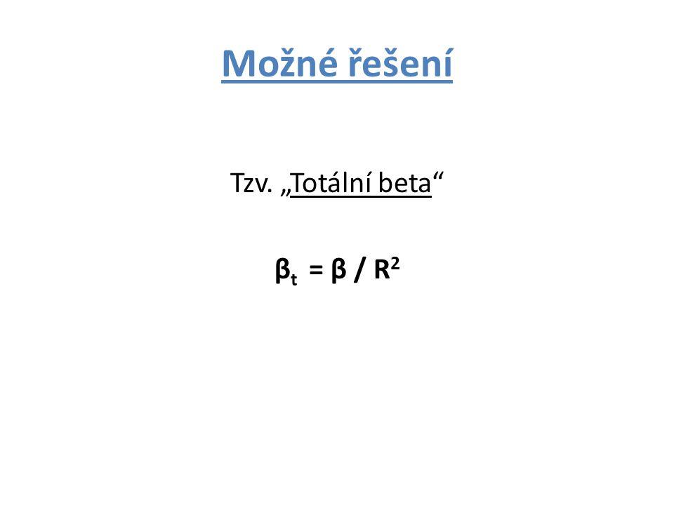 """Možné řešení Tzv. """"Totální beta β t = β / R 2"""